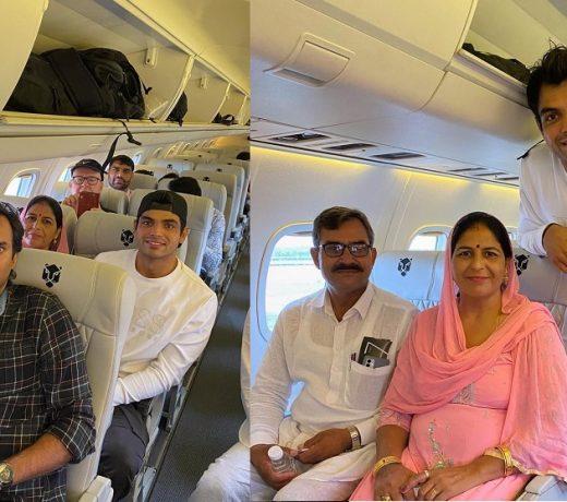 भारत के स्वर्ण पदक विजेता अपने माता-पिता को पहली बार विमान में चढ़ते देख खुश