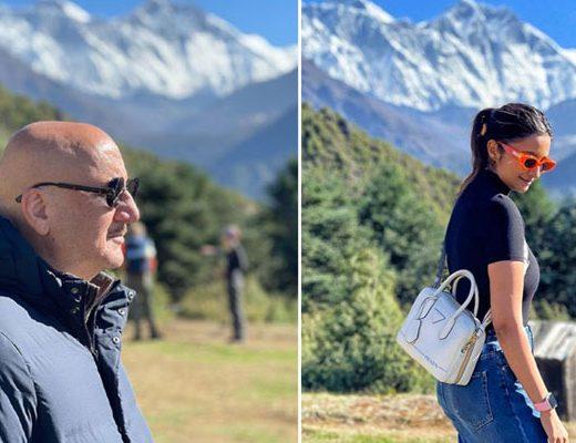 नेपाल के एवरेस्ट को देखकर बॉलीवुड हस्तियां अनुपम और परिणीति बहुत खुश !